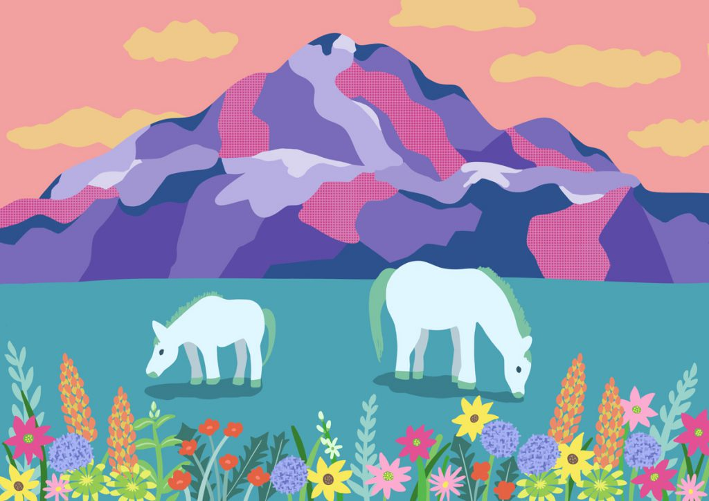 illustration Mountain and Horses