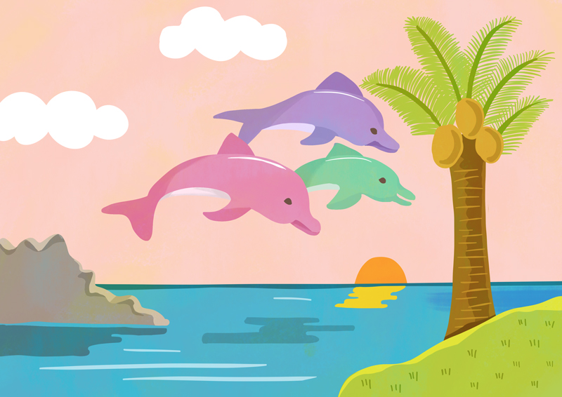 DOLPHIN&ISLAND Illustration