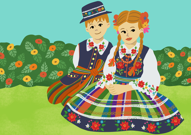 TRADITIONAL COSTUMES Illustration-Poland